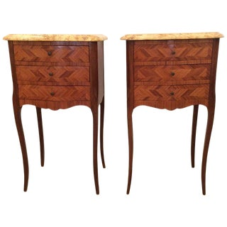 Lovely Pair of French Fruitwood Marquetry and Marble Nightstands