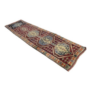 Kurdish Hand Knotted Herki Tribal Runner Rug - 2′10″ X 10′1″