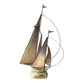 Mid-Century Modern Brass Sailboat