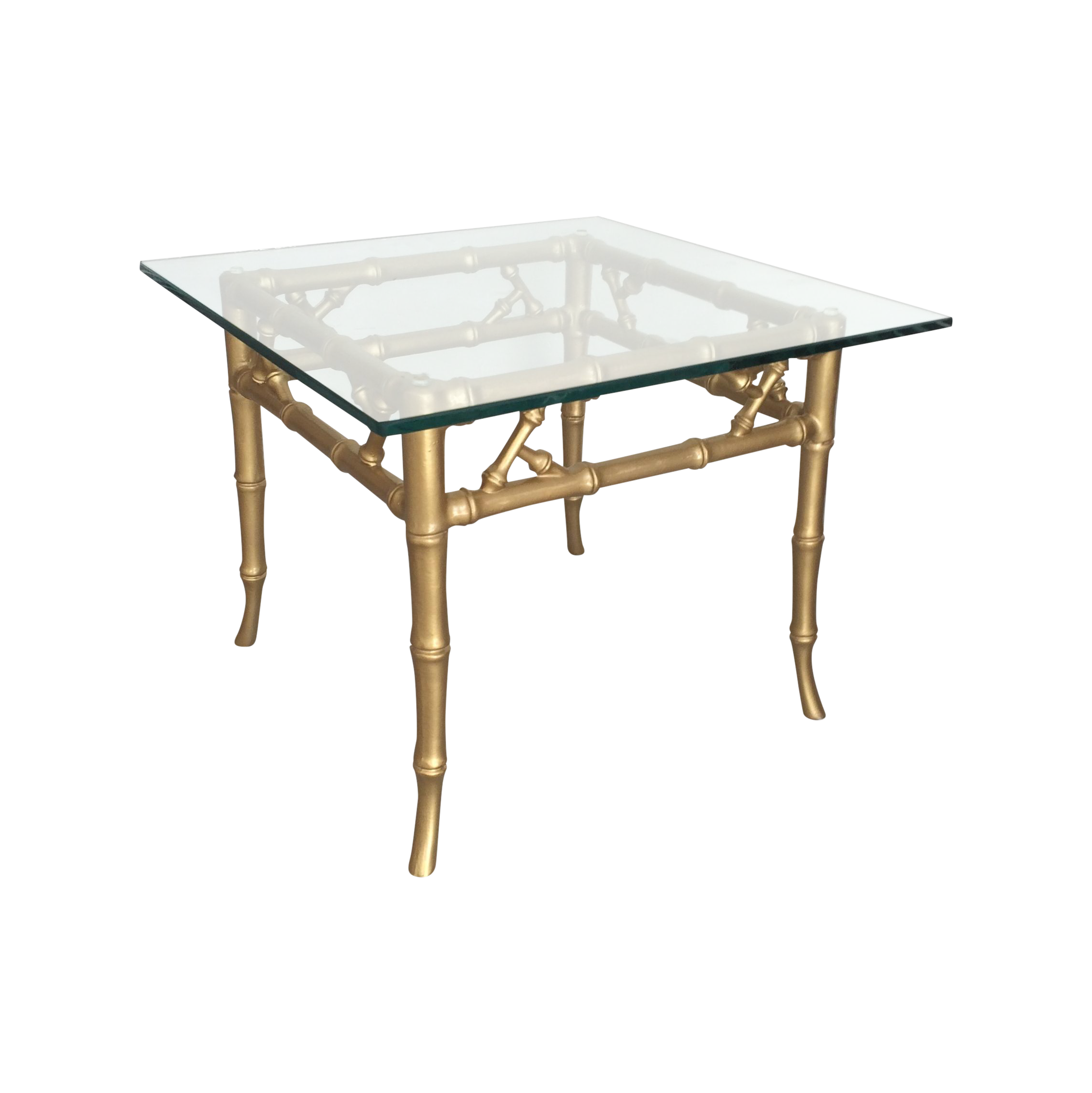 Gilded Metal Faux Bamboo Accent Table   Image 1 Of 11