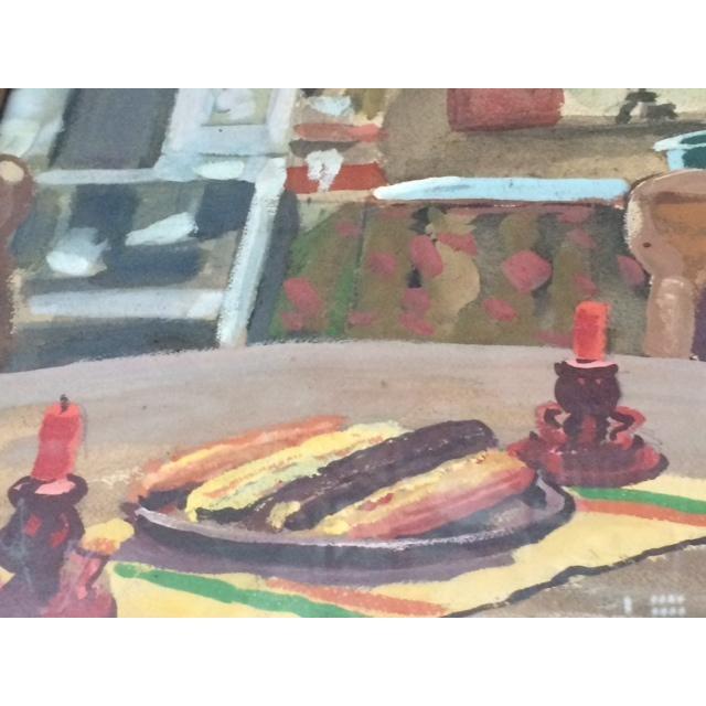 """Peter Driben Watercolor """"Retreat"""" - Image 4 of 6"""
