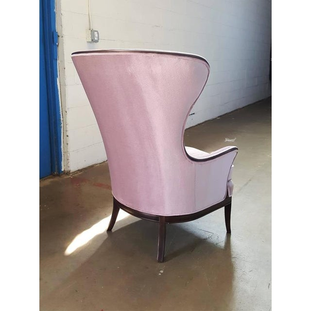 Mid-Century Modern Lilac Mohair & Mahogany Wingback Chair - Image 6 of 8