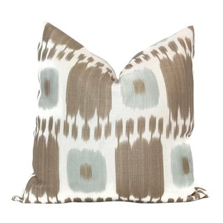 "20"" x 20"" Aqua & Tan Kandira Ikat Decorative Pillow Cover"