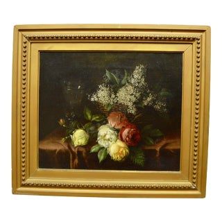 Antique Oil on Canvas Still Life Painting