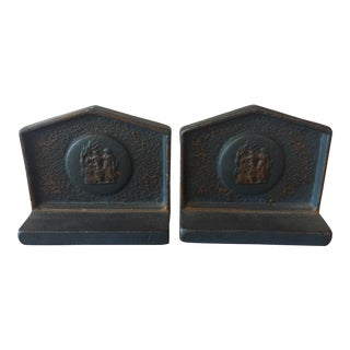 Blue Iron Bookends - A Pair