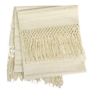 Oaxaca Cotton Woven Cream Tassel Table Runner
