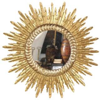 French Mid-Century Giltwood Sunburst Mirror with Sunrays of Varying Size