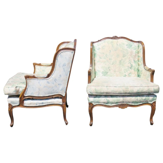 Louis XV Upholstered Carved Walnut Bergeres Marquis Armchairs- A Pair - Image 1 of 5
