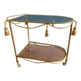 Mid Century Regency Italian Tassel Gilt Bar Cart
