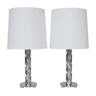 Sculptural Chrome Drill Bit Table Lamps