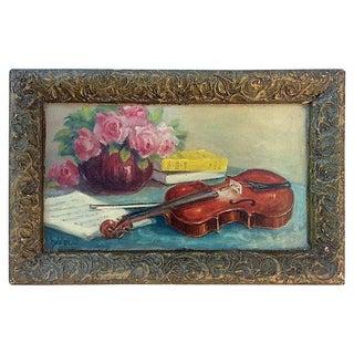French Still Life Violin & Roses