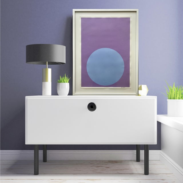 Soft Blue Dot on French Lavender Painting - Image 3 of 4