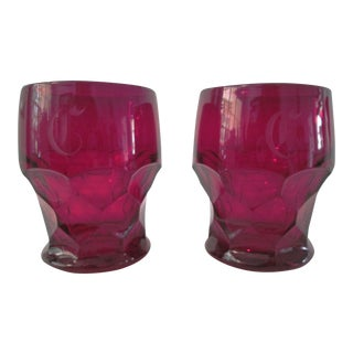 "Mid-Century ""C"" Ruby Red Lowball Glasses - A Pair"