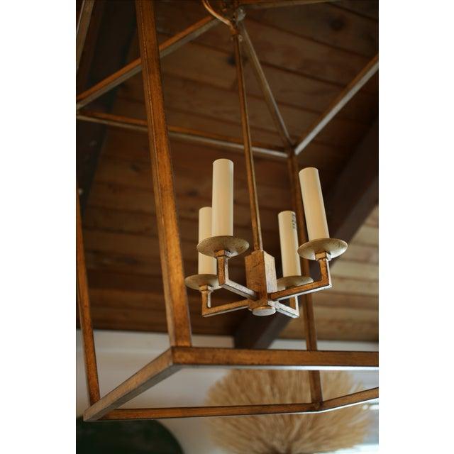 Gilded Iron Foyer Lantern Ceiling Light - Image 3 of 6