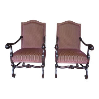 Old World Tuscan Spanish Style Arm Chairs - A Pair