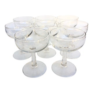 Vintage Glass Champagne Coupes - Set of 8