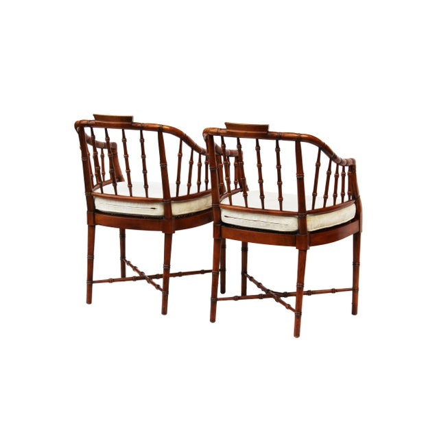 Hekman Faux Bamboo Chippendale Style Armchairs - a Pair - Image 3 of 6