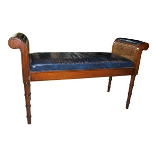 Traditional Style Navy Blue Leather Bench