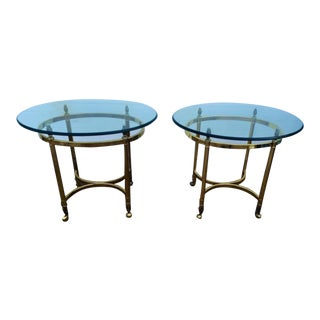 Regency-Style Metal & Glass Stands - A Pair