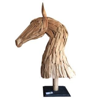 Scrap Wood Mounted Horse Bust Sculpture
