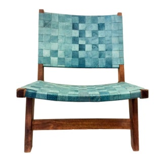 Woven Recylced Leather Lounge Chair Blue