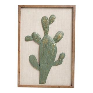 Boho Framed Metal Cactus Sculpture