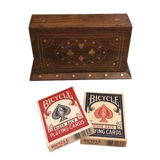 Walnut Card Box With Brass & Copper Inlay