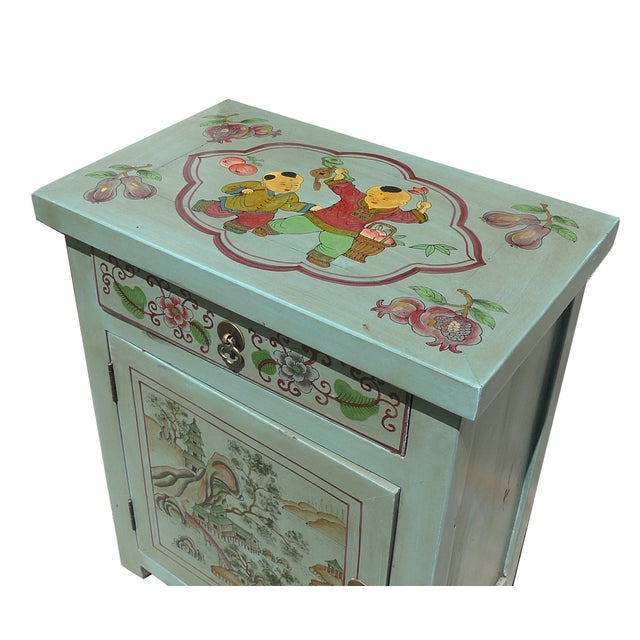 Oriental Pastel Blue Kid Scenery Side Table - Image 4 of 5