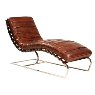Aged Brown Leather Chaise Lounge