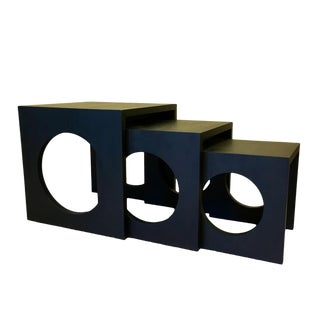 Modern Black Wood Nesting Tables - Set of 3