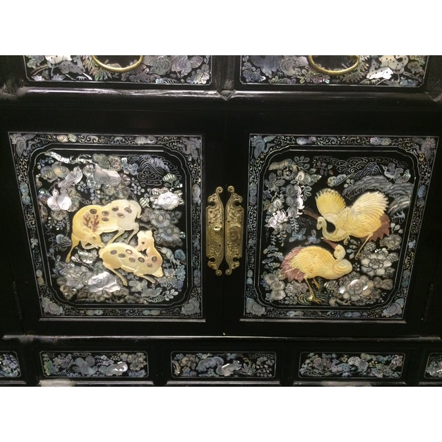 Asian Black Lacquer Mother of Pearl Inlay Chest - Image 3 of 7