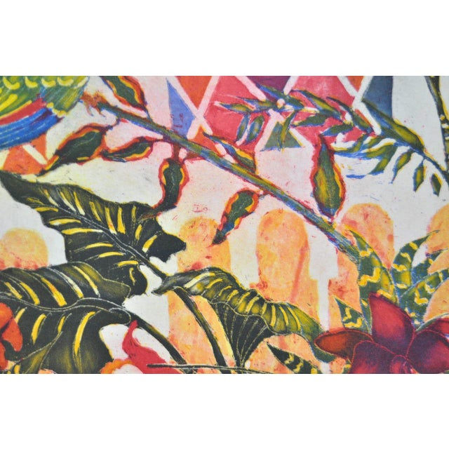 'Tropical Parrot' Colorful Monoprint - Image 4 of 8