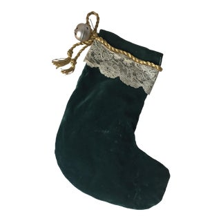 Antique Velvet /Lace Christmas Stocking-13""