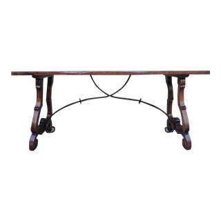 Italian Walnut Writing Table with Iron Stretcher