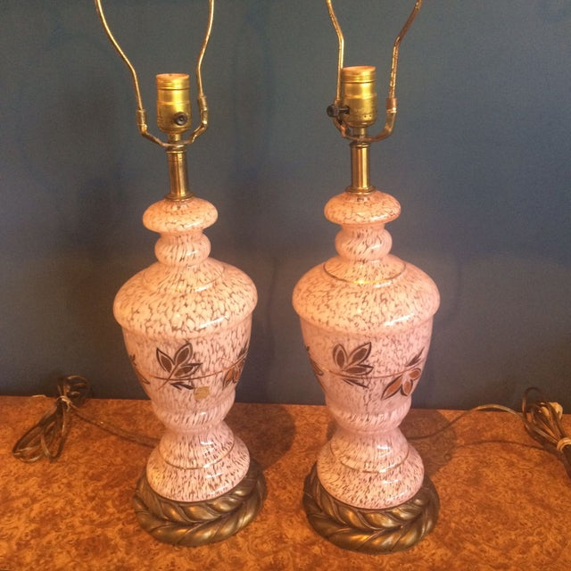 Mid-Century Pink Glass Lamps - a Pair - Image 6 of 8