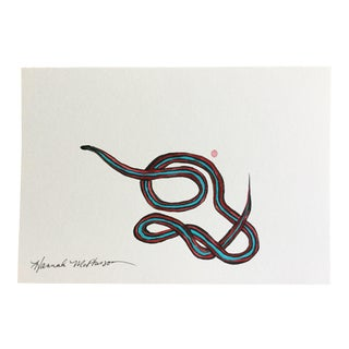Neon Blue Garter Snake No. 4 Original Painting