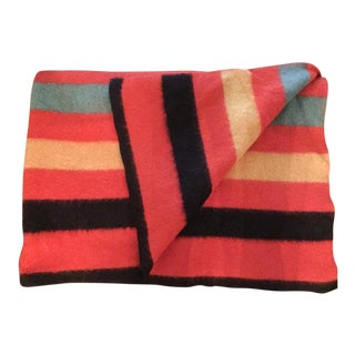 Mid-Century Striped 4 Point Wool Striped Throw Blanket