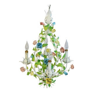 Italian Four-Arm/Light Pastel Rose Tole Chandelier