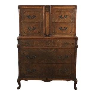 Vintage Carved Wood & Veneered Dresser