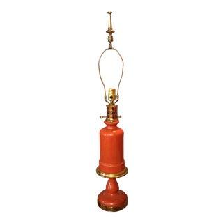 Paul Hanson Mid-Century Orange Opaline Murano Lamp
