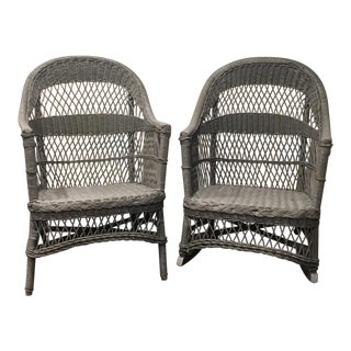 Vintage Wicker Armchair and Rocker Set - A Pair