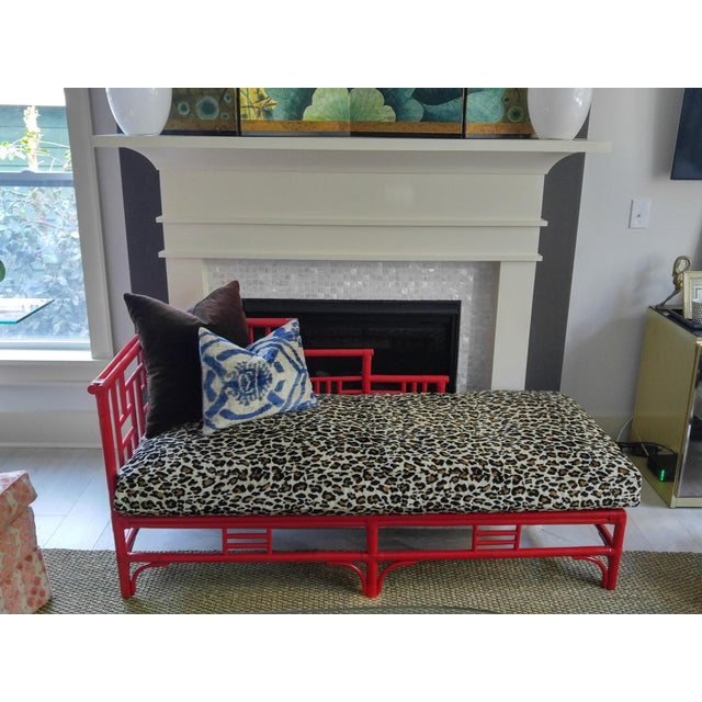 Chinese Chippendale Rattan Chaise - Image 3 of 9
