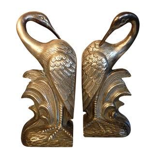 Regency Brass Crane Bookends - A Pair