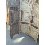 Image of Egyptian Inlaid Mother of Pearl Trifold Screen
