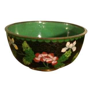 Black & Green Floral Cloisonne Bowl
