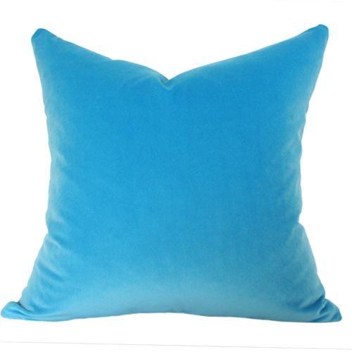 Capri Blue Velvet Pillow Cover - Image 3 of 3