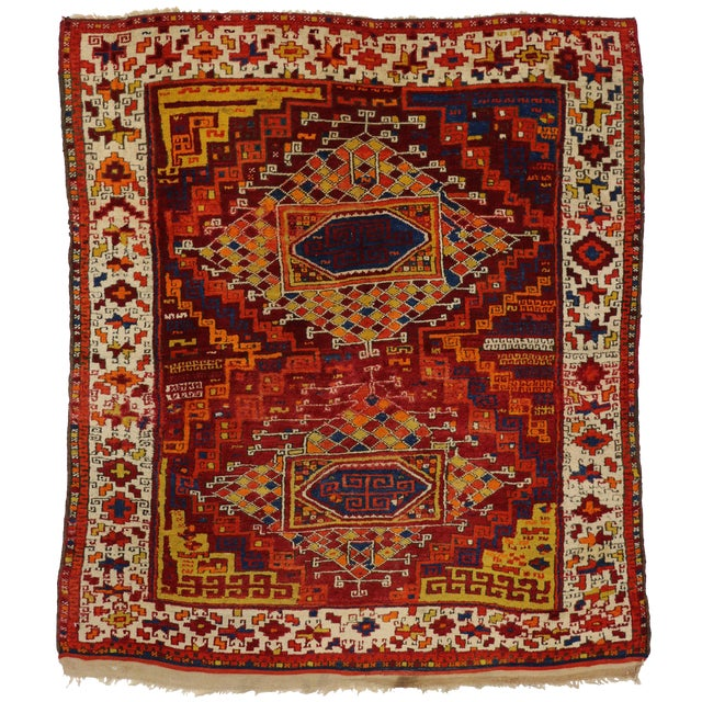 Antique Turkish Oushak with Modern Tribal Design - Image 1 of 5