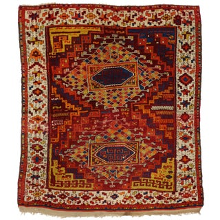 Antique Turkish Oushak with Modern Tribal Design
