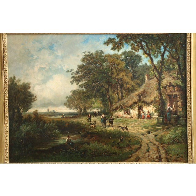 Vintage French Barbizon School Landscape Painting of Village - Image 2 of 10