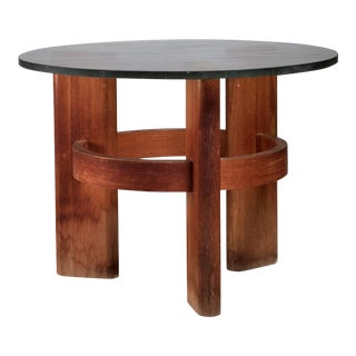 Round Studio Side Table with Solid Old Oak Legs and Original Glass Top, Sweden